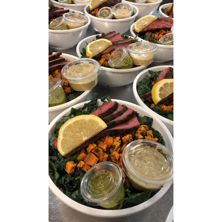 Grilled Steak with Kale Caeser, Sweet Potato Croutons and Chimichurri Sauce