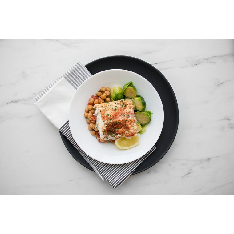 Moroccan Alaskan Cod with Chickpea Ragout and Brussels Sprouts