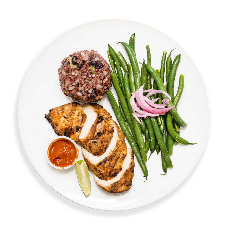 Grilled Chicken, Green Beans, Black Rice and Tomato Turmeric Chutney