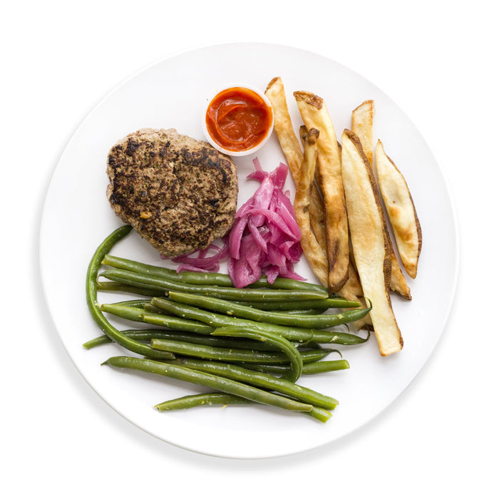 Garlic-Parsley Burger with Baked Fries and Green Bean