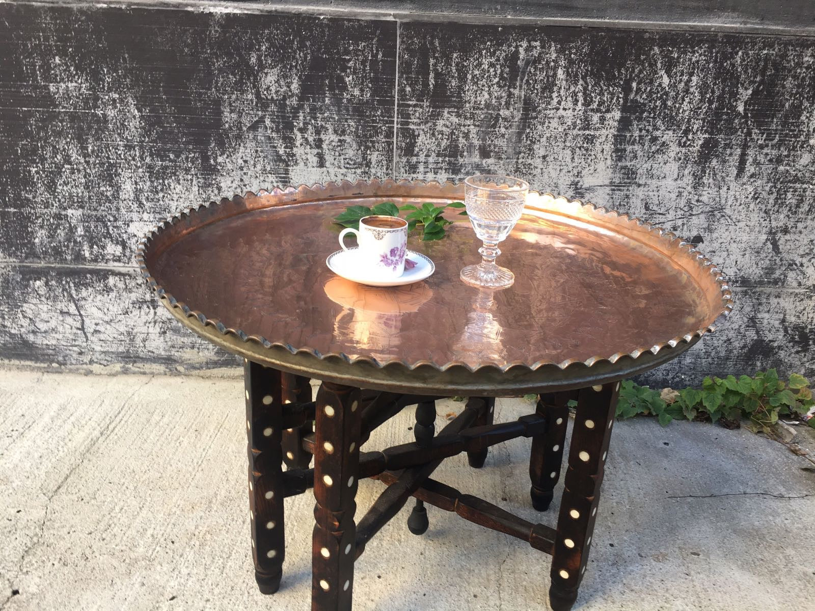Persian Copper Tray On Stand Table