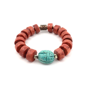 Coral & Turquoise Scarab Bracelet