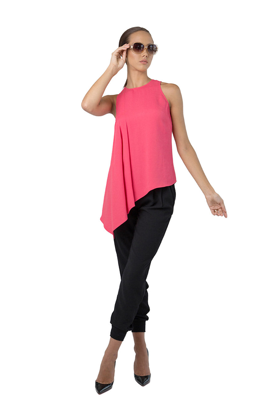 Pink asymmetrical crepe sleeveless top
