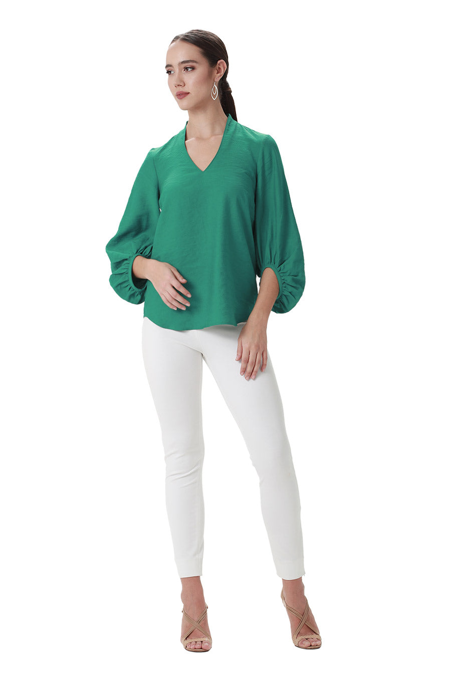 Green vneck top puff balloon sleeves