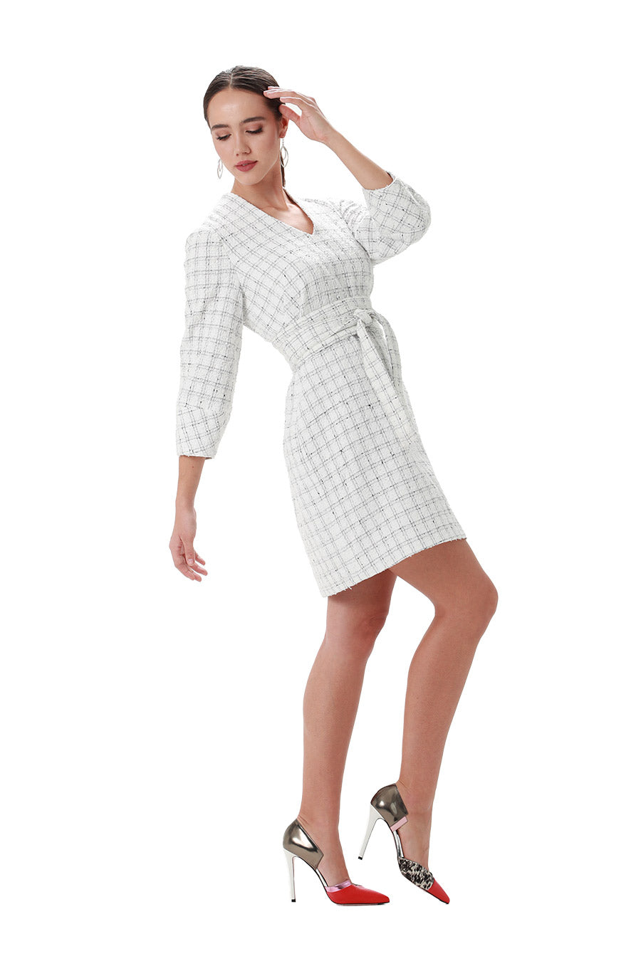 Black & white window pane tweed  belted vneck shift latern sleeve dress