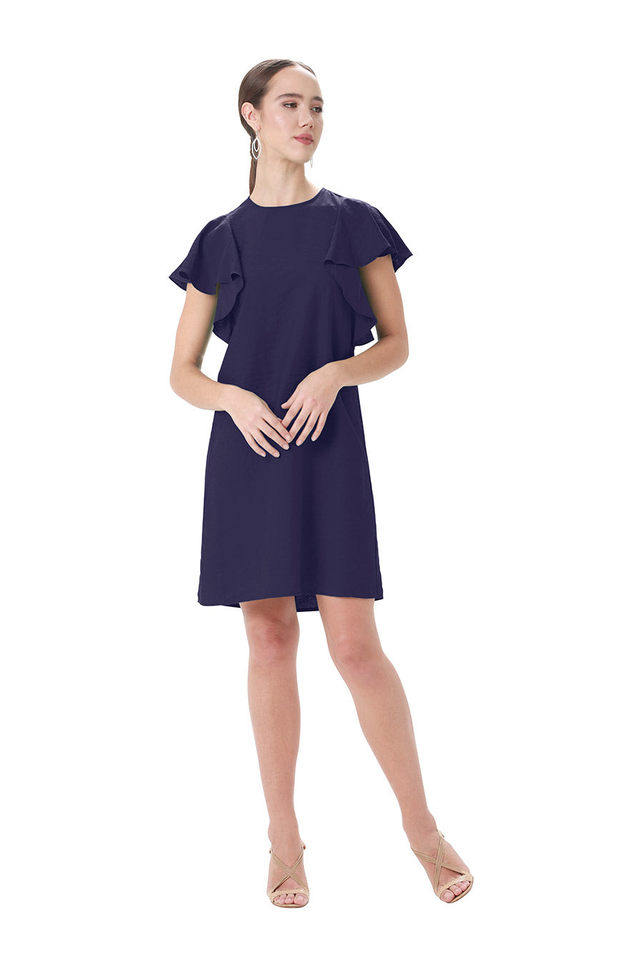 Navy jewel neck ruffle dress