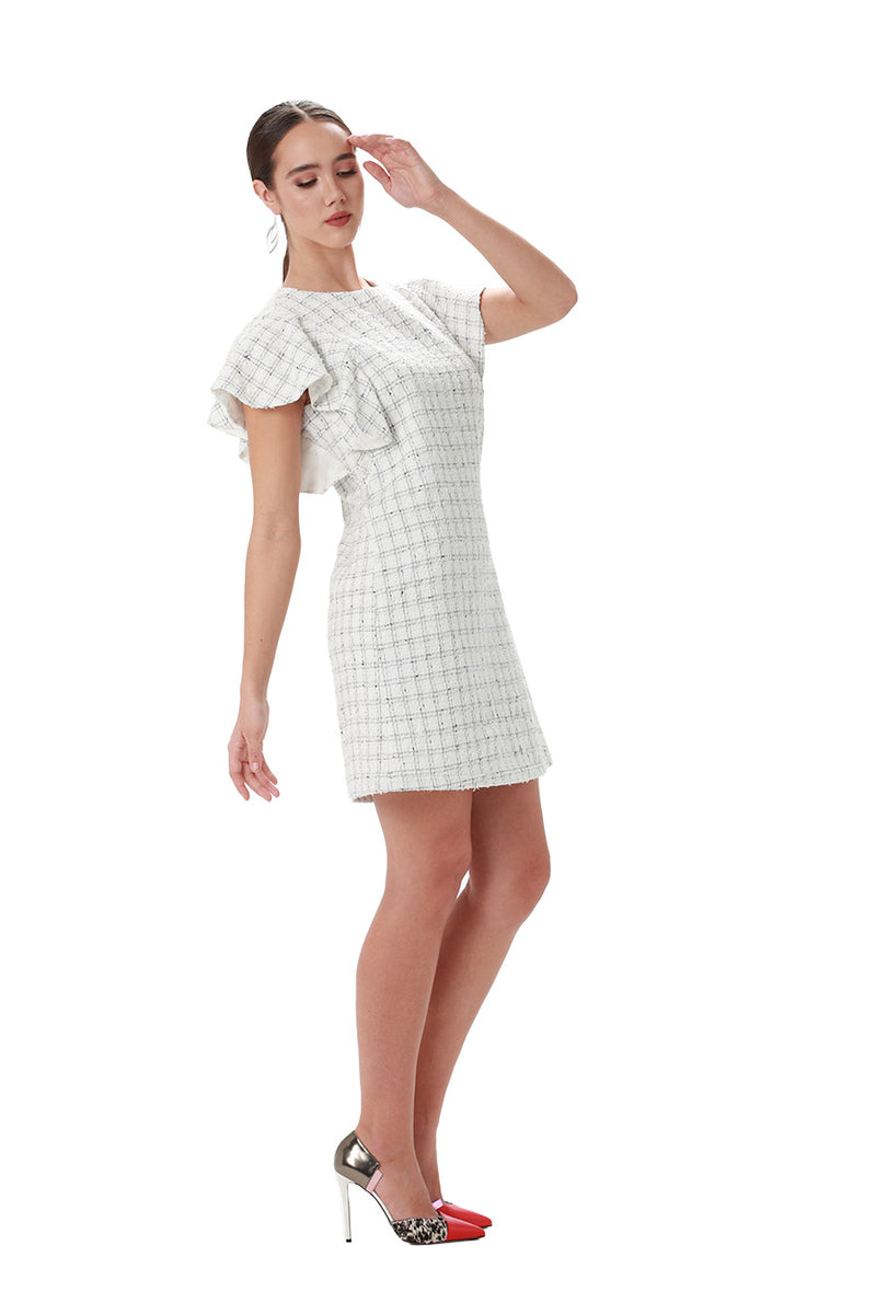 Pam Ruffle Tweed Dress