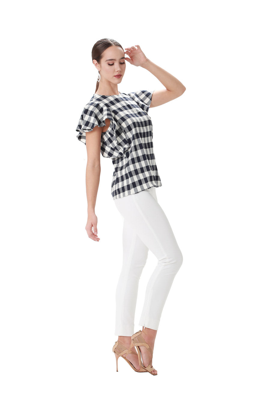 Gingham jewel neck ruffle top
