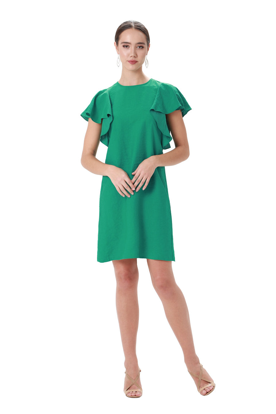 Green jewel neck ruffle dress
