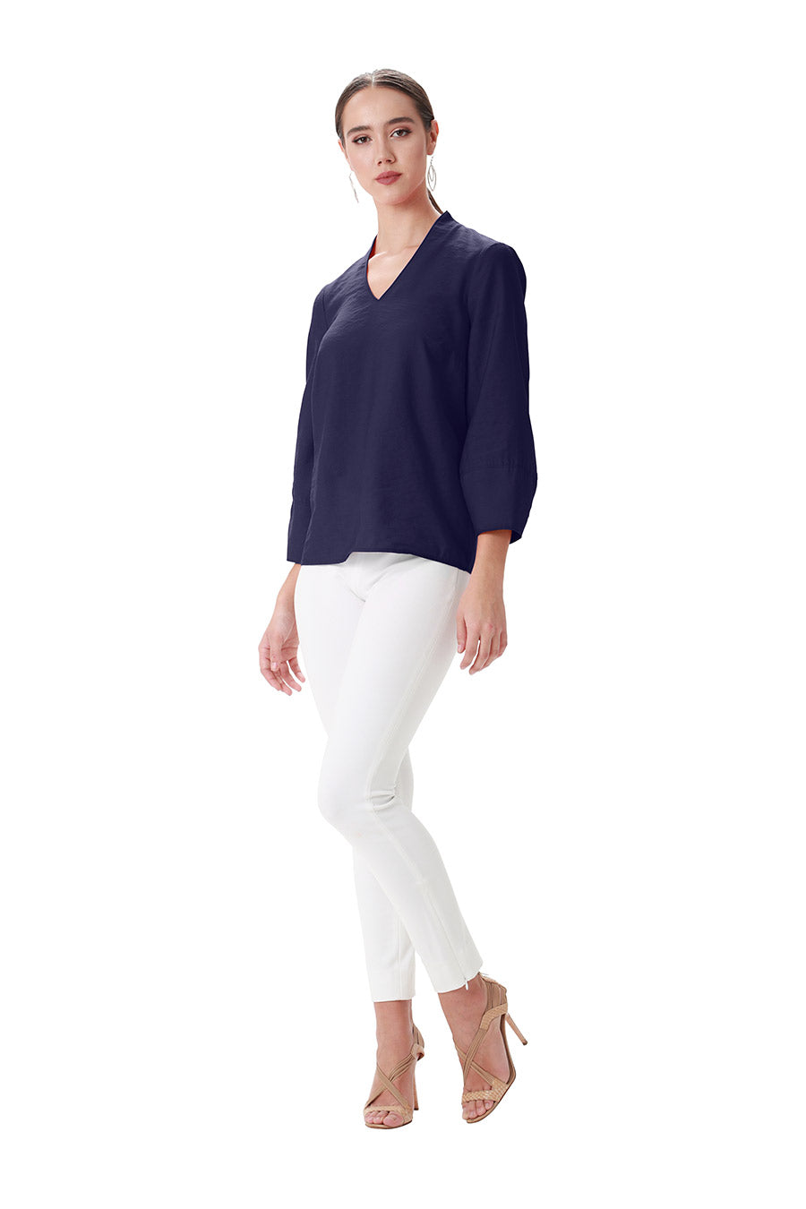 Navy poly viscose vneck long sleeve lattern sleeve blouse