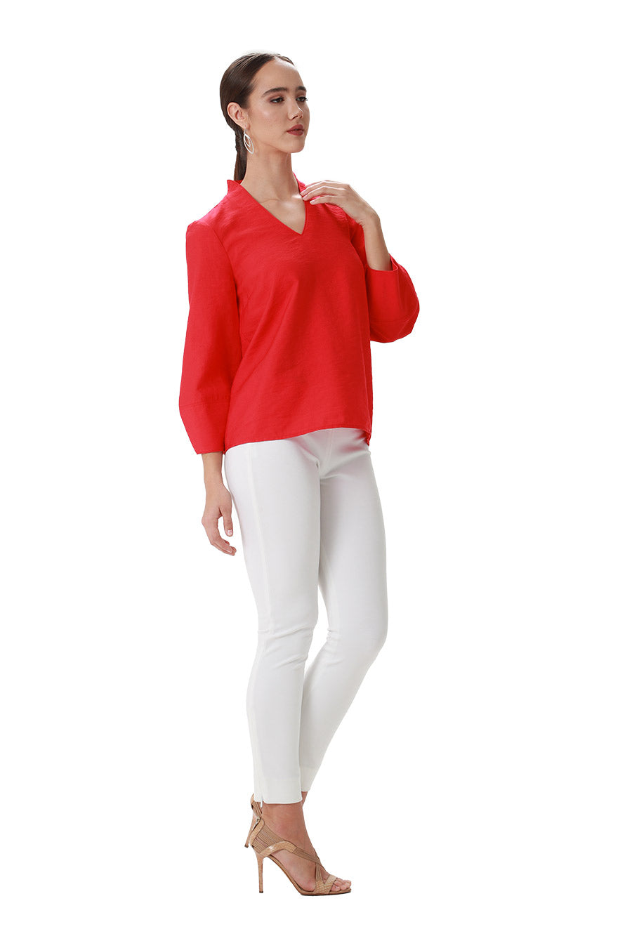 Red poly viscose vneck long sleeve lattern sleeve blouse