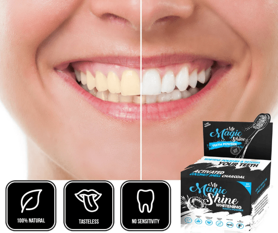 smile with white teeth comparison my magic shine toothpowder