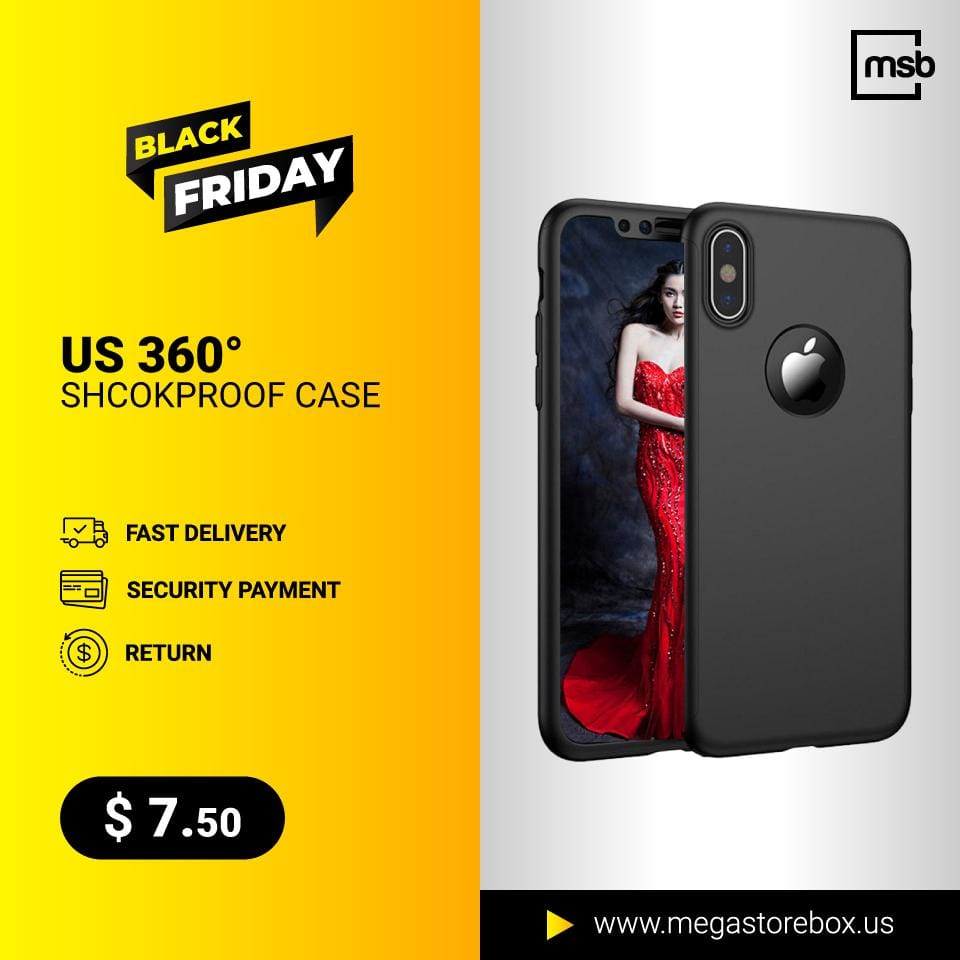 US 360° Shcokproof Case Thin Slim Hard Cover + Temper Glass Protector-- For iPhone X