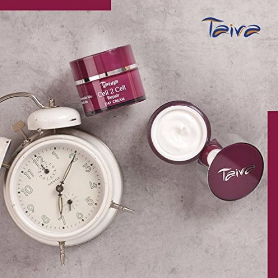 package of taiva cell 2 cell repair day cream on a white background and a clock showing 7a.m.