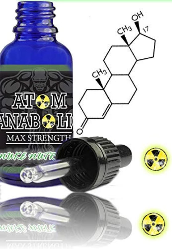 bottle of Anabolic Atom Testosterone Booster by nuke nutrition and the chemical formula