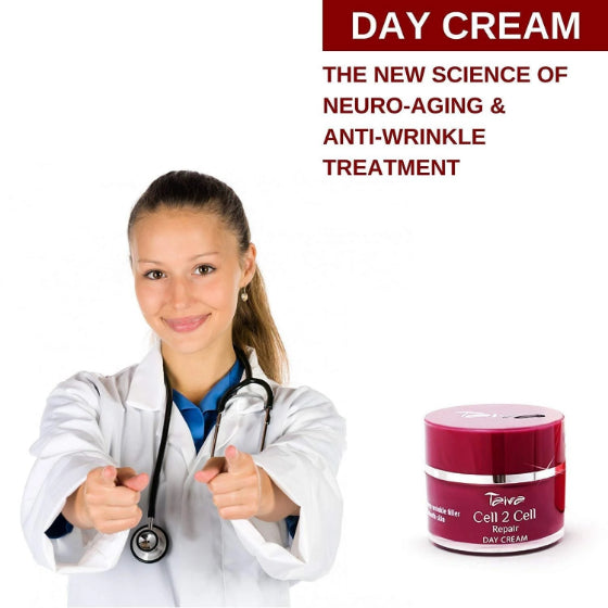 female doctor with pointing fingers at you on a white background and a package of taiva cell 2 cell day cream at the bottom right