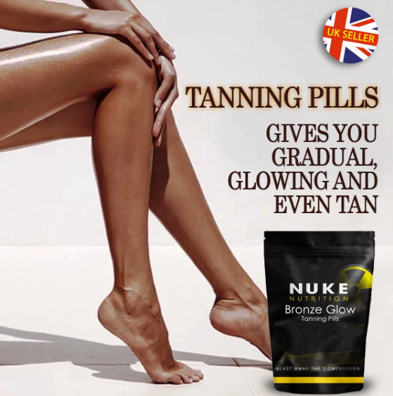 Nuke Nutrition bronze glow tanning pills on the down right corner on a white background with text above it. On the left part tanned girl