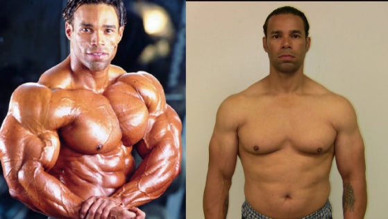 after and before using Anabolic Atom Testosterone Booster. picture of male body