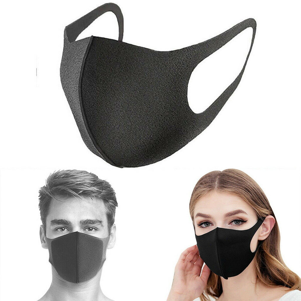 Face Mask Reusable Washable Unisex Black Mouth Cover - CORONA VIRUS COVID 19 Protection
