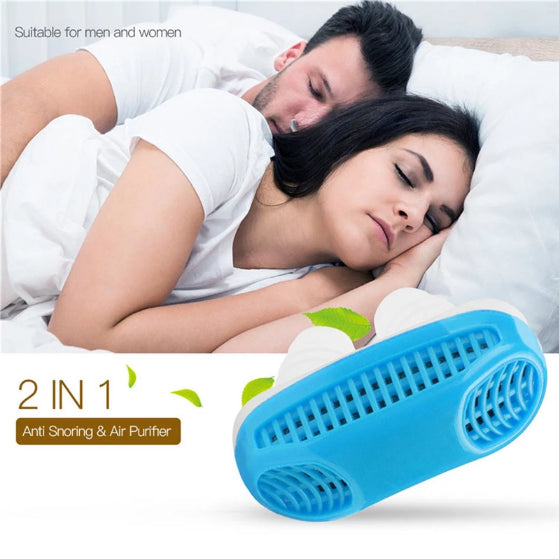 couple sleeping peacefully with anti snoring devices. on the bottom left corner blue anti snoring device