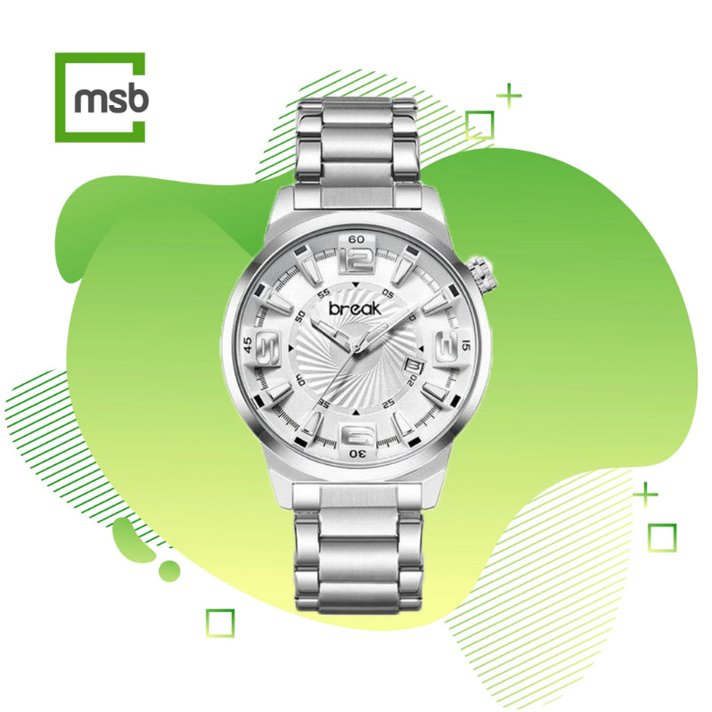 shutter series silver break watch with stainless steel strap on the green mega store box background