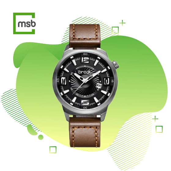 gray shutter series break watch with brown leather strap on the green mega store box background
