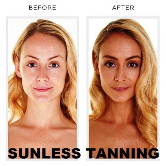 before and after sunless tanning capsules. photo of a woman with darkened tan