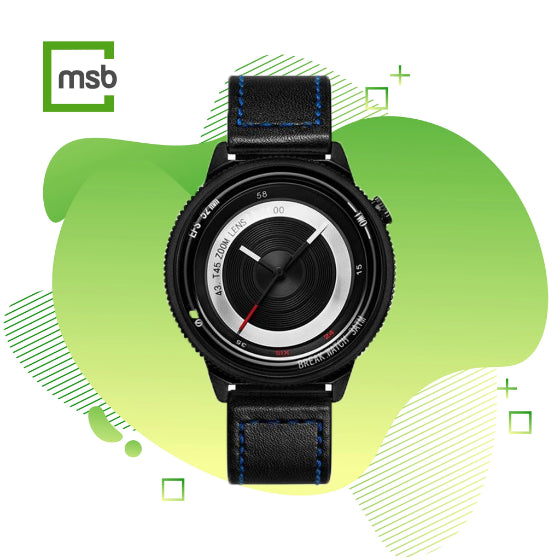 black lens series break watch with leather strap with blue stitching on green mega store box background