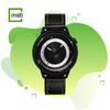 black lens series break watch with leather strap with yellow stitching on green mega store box background