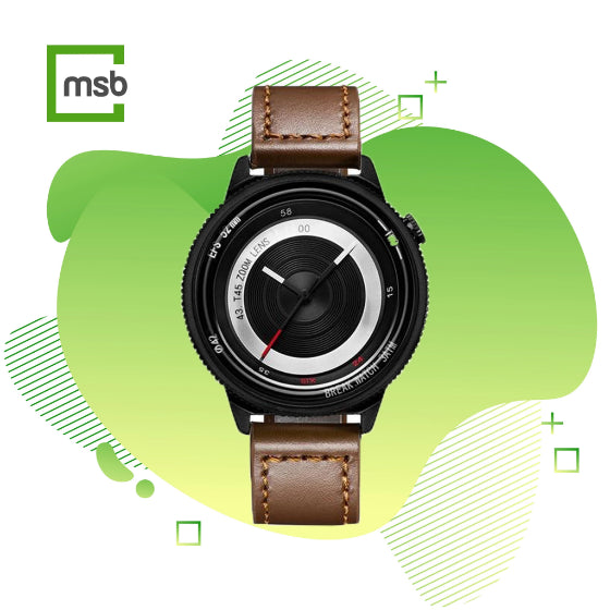 black lens series break watch with brown leather strap on green mega store box background