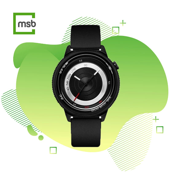 black lens series break watch with silicone strap on green mega store box background