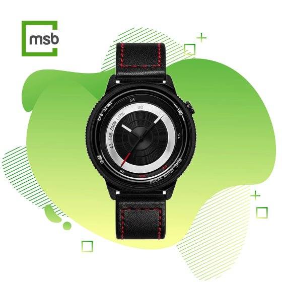black lens series break watch with leather strap with red stitching on green mega store box background