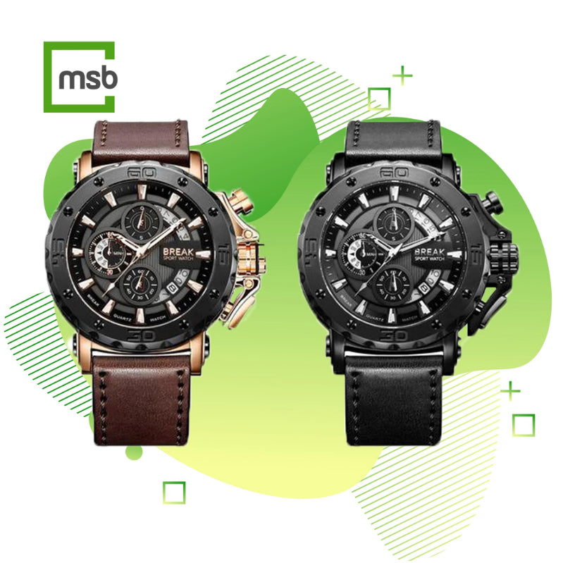 black gold casing brown strap and black casing black leather strap ranger series break watches on the green mega store box background