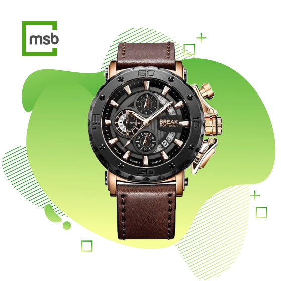 Black gold casing brown leather strap ranger series break wrist watch on the green mega store box background