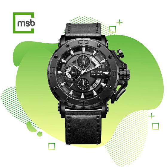 black casing black leather strap ranger series break watch on the green mega store box background