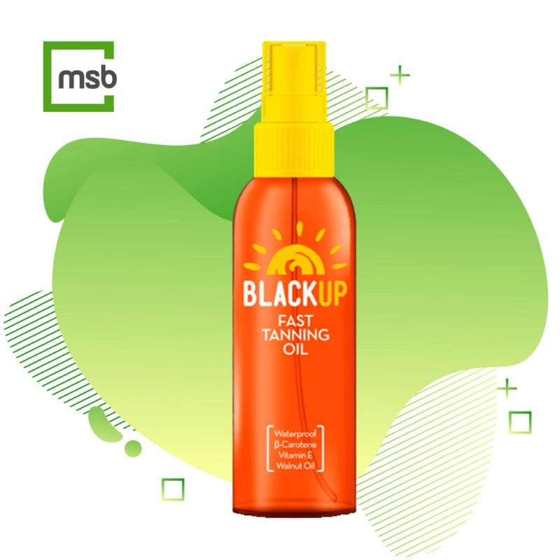 black up tanning oil on mega store box background