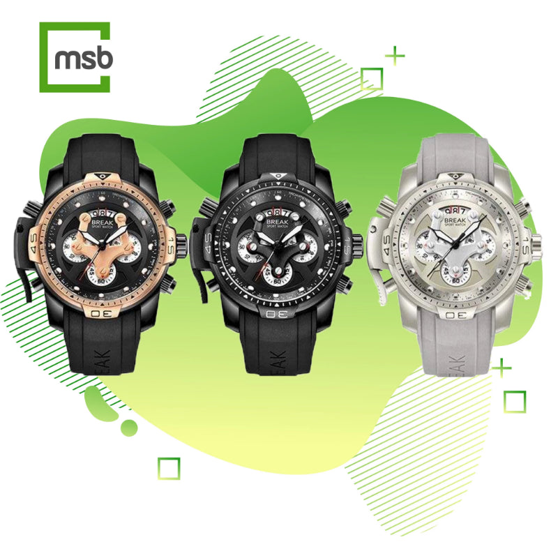 golden rose, black, and silver grenade series black watches on mega store box background