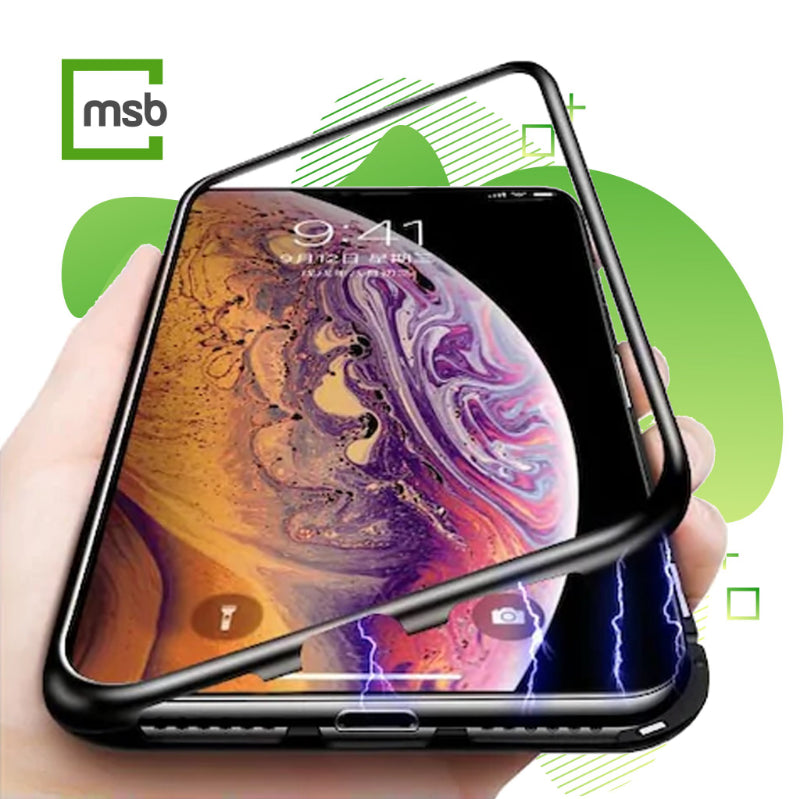 hand holidng iphone x with turned screen with protective shockproof magnetic cover