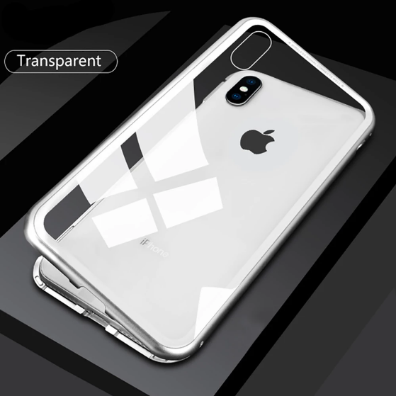 white iphone x backside with magnetic protective clear shockproof cover on a black background