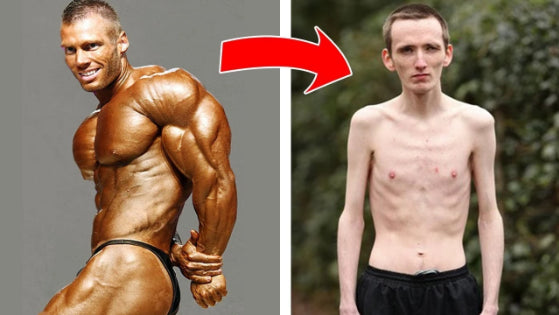 male torso after and before pictures of using Anabolic Atom Testosterone Booster