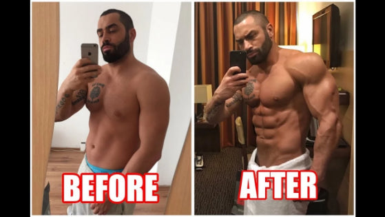 before and after using Anabolic Atom Testosterone Booster. picture of male body