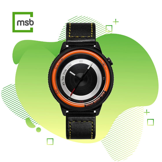 orange lens series break watch with leather strap with yellow stitching on green mega store box background