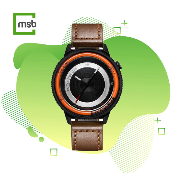 orange lens series break watch with brown leather strap on green mega store box background