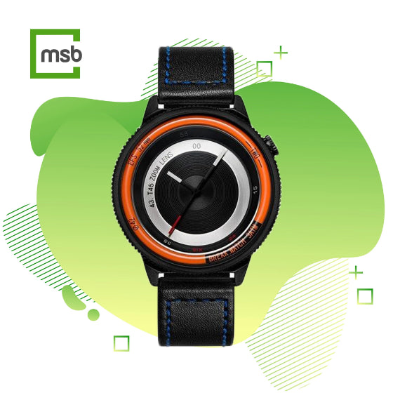 orange lens series break watch with leather strap with blue stitching on green mega store box background