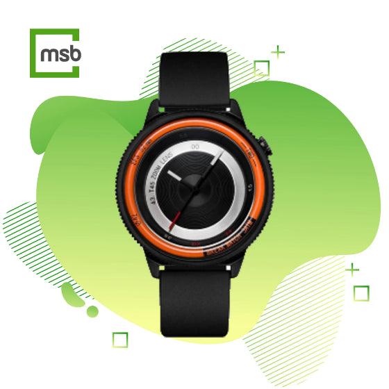 orange lens series break watch with silicone strap on green mega store box background
