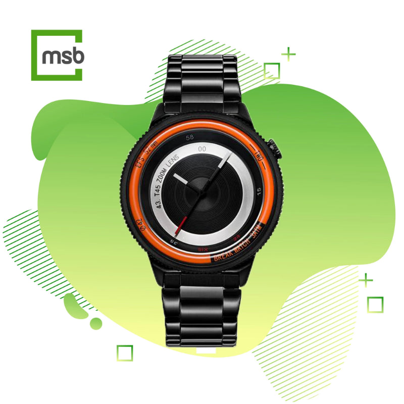 orange lens series break watch with stainless steel strap on mega store box green background