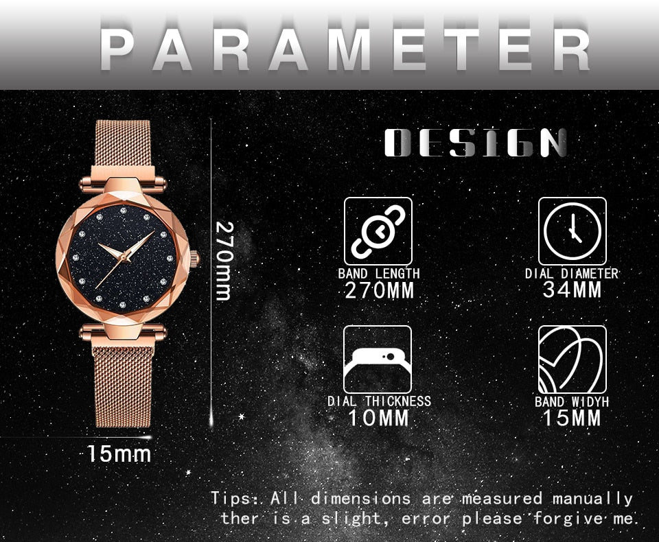 starry sky magnetic girl watch gold