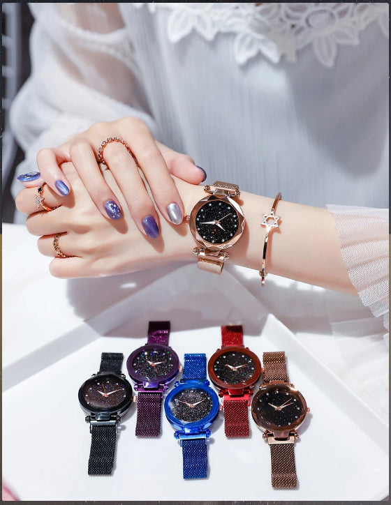 starry sky magnetic girl watch