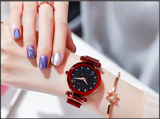 starry sky magnetic girl watch red