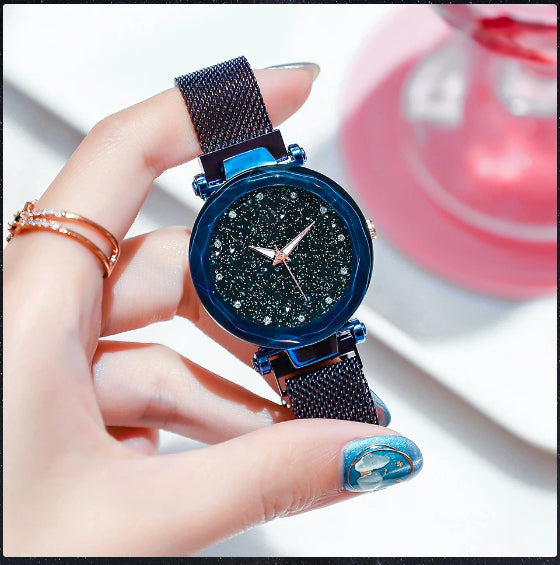 starry sky magnetic girl watch blue
